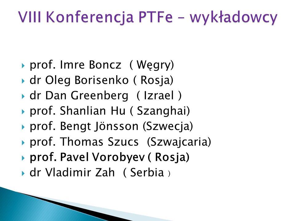 prof. Imre Boncz ( Węgry) dr Oleg Borisenko ( Rosja) dr Dan Greenberg ( Izrael ) prof. Shanlian Hu ( Szanghai) prof. Bengt Jönsson (Szwecja) prof. Tho