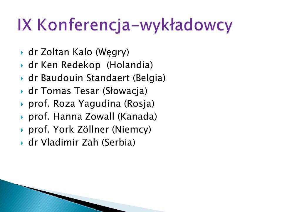 dr Zoltan Kalo (Węgry) dr Ken Redekop (Holandia) dr Baudouin Standaert (Belgia) dr Tomas Tesar (Słowacja) prof. Roza Yagudina (Rosja) prof. Hanna Zowa