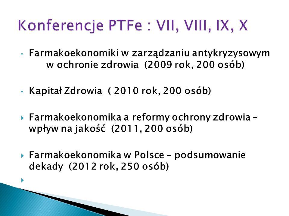 Farmakoekonomiki w zarządzaniu antykryzysowym w ochronie zdrowia (2009 rok, 200 osób) Kapitał Zdrowia ( 2010 rok, 200 osób) Farmakoekonomika a reformy