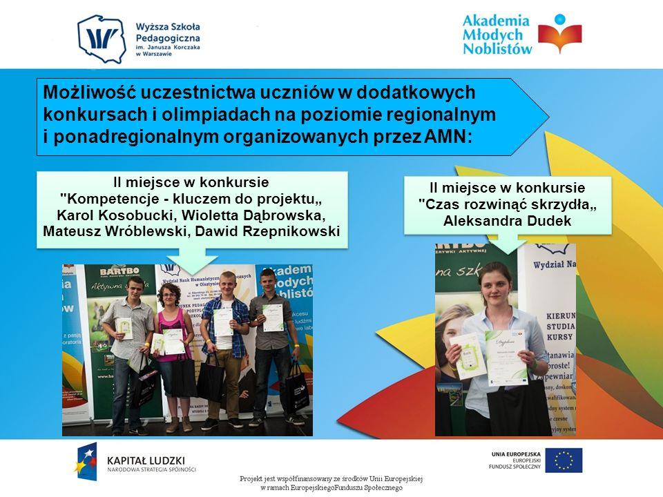 Możliwość uczestnictwa uczniów w dodatkowych konkursach i olimpiadach na poziomie regionalnym i ponadregionalnym organizowanych przez AMN: II miejsce