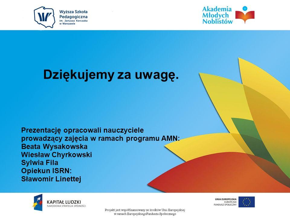 Dziękujemy za uwagę. Prezentację opracowali nauczyciele prowadzący zajęcia w ramach programu AMN: Beata Wysakowska Wiesław Chyrkowski Sylwia Fila Opie
