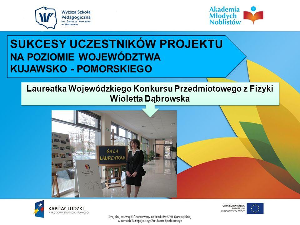 Laureatka Wojewódzkiego Konkursu Przedmiotowego z Fizyki Wioletta Dąbrowska Laureatka Wojewódzkiego Konkursu Przedmiotowego z Fizyki Wioletta Dąbrowsk