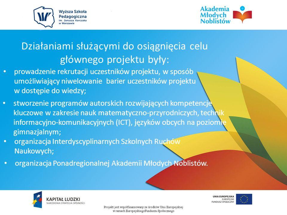 Działaniami służącymi do osiągnięcia celu głównego projektu były: prowadzenie rekrutacji uczestników projektu, w sposób umożliwiający niwelowanie barier uczestników projektu w dostępie do wiedzy; stworzenie programów autorskich rozwijających kompetencje kluczowe w zakresie nauk matematyczno-przyrodniczych, technik informacyjno-komunikacyjnych (ICT), języków obcych na poziomie gimnazjalnym; organizacja Interdyscyplinarnych Szkolnych Ruchów Naukowych; organizacja Ponadregionalnej Akademii Młodych Noblistów.
