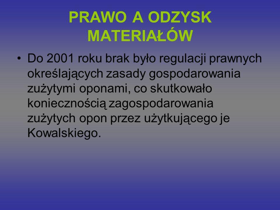 PRAWO A ODZYSK MATERIAŁÓW Do 2001 roku brak było regulacji prawnych określających zasady gospodarowania zużytymi oponami, co skutkowało koniecznością zagospodarowania zużytych opon przez użytkującego je Kowalskiego.