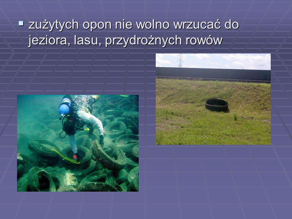 zużytych opon nie wolno wrzucać do jeziora, lasu, przydrożnych rowów zużytych opon nie wolno wrzucać do jeziora, lasu, przydrożnych rowów