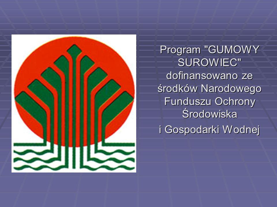 Program GUMOWY SUROWIEC dofinansowano ze środków Narodowego Funduszu Ochrony Środowiska i Gospodarki Wodnej