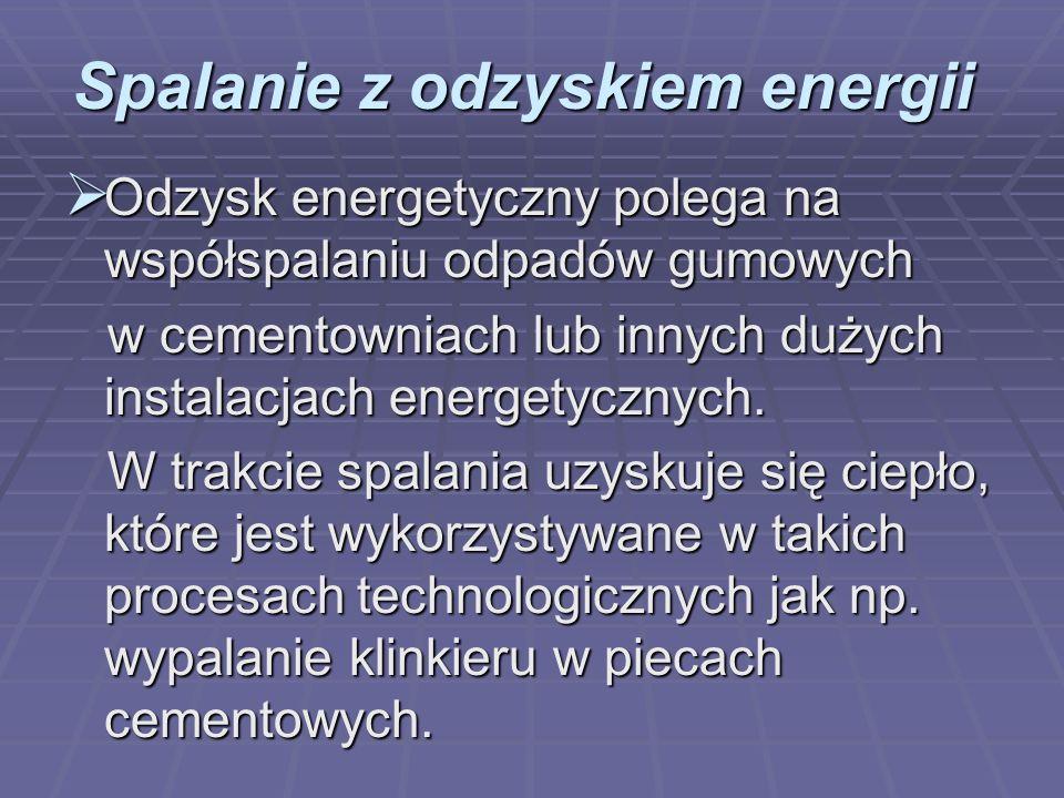 Spalanie z odzyskiem energii Odzysk energetyczny polega na współspalaniu odpadów gumowych Odzysk energetyczny polega na współspalaniu odpadów gumowych