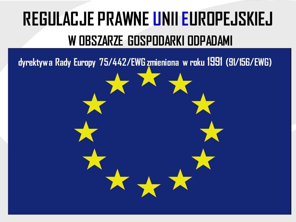 REGULACJE PRAWNE UNII EUROPEJSKIEJ W OBSZARZE GOSPODARKI ODPADAMI dyrektywa Rady Europy 75/442/EWG zmieniona w roku 1991 (91/156/EWG)