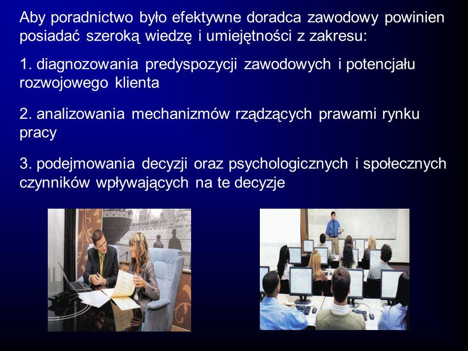 Aby poradnictwo było efektywne doradca zawodowy powinien posiadać szeroką wiedzę i umiejętności z zakresu: 1. diagnozowania predyspozycji zawodowych i