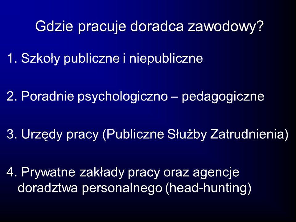 1. Szkoły publiczne i niepubliczne 2. Poradnie psychologiczno – pedagogiczne 3. Urzędy pracy (Publiczne Służby Zatrudnienia) 4. Prywatne zakłady pracy