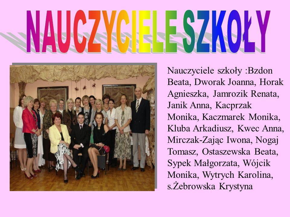 Nauczyciele szkoły :Bzdon Beata, Dworak Joanna, Horak Agnieszka, Jamrozik Renata, Janik Anna, Kacprzak Monika, Kaczmarek Monika, Kluba Arkadiusz, Kwec