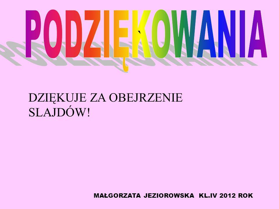 DZIĘKUJE ZA OBEJRZENIE SLAJDÓW! MAŁGORZATA JEZIOROWSKA KL.IV 2012 ROK `