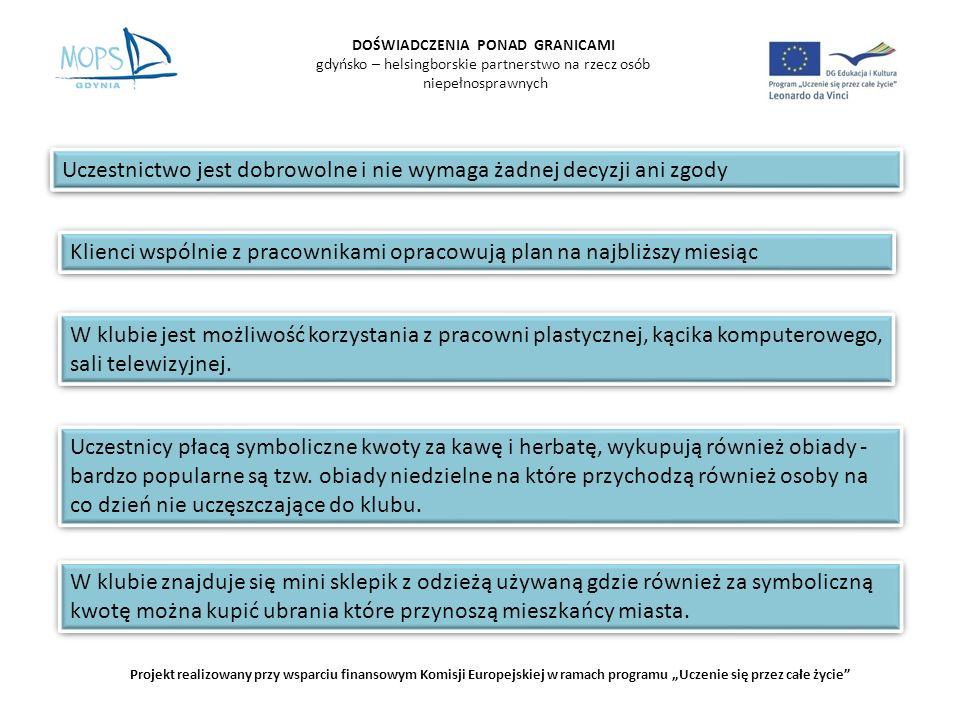 DOŚWIADCZENIA PONAD GRANICAMI gdyńsko – helsingborskie partnerstwo na rzecz osób niepełnosprawnych Projekt realizowany przy wsparciu finansowym Komisji Europejskiej w ramach programu Uczenie się przez całe życie Prace wykonane przez uczestników