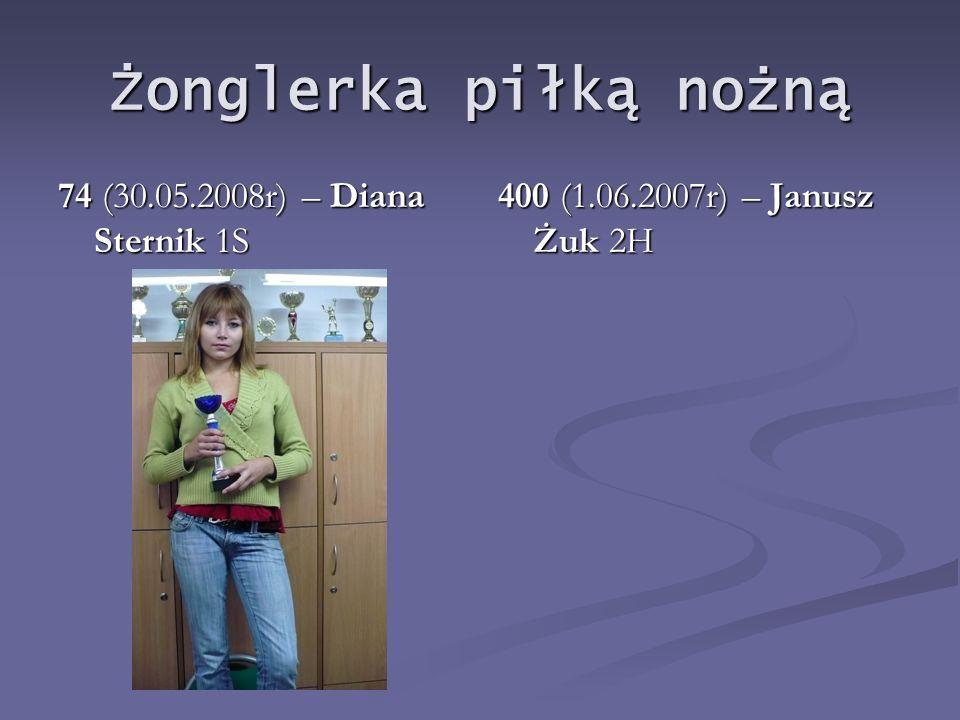 Pchnięcie kulą Kula 4kg – 8,11m (28.09.2007r) Zofia Charlińska 2S Kula 5kg - 14,10m (30.05.2008r) Jakub Kowalik 2WP Kula 6kg - 12,66m (26.09.2008r) Jakub Kowalik 3WP