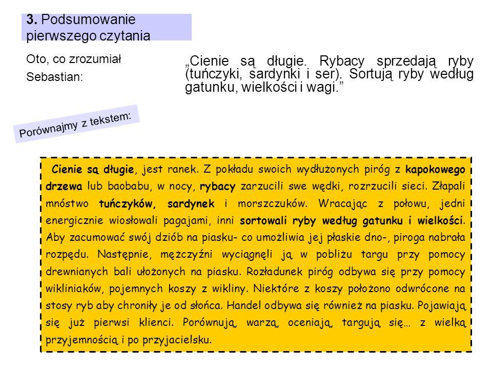 3. Podsumowanie pierwszego czytania Oto, co zrozumiał Sebastian: Cienie są długie, jest ranek. Z pokładu swoich wydłużonych piróg z kapokowego drzewa