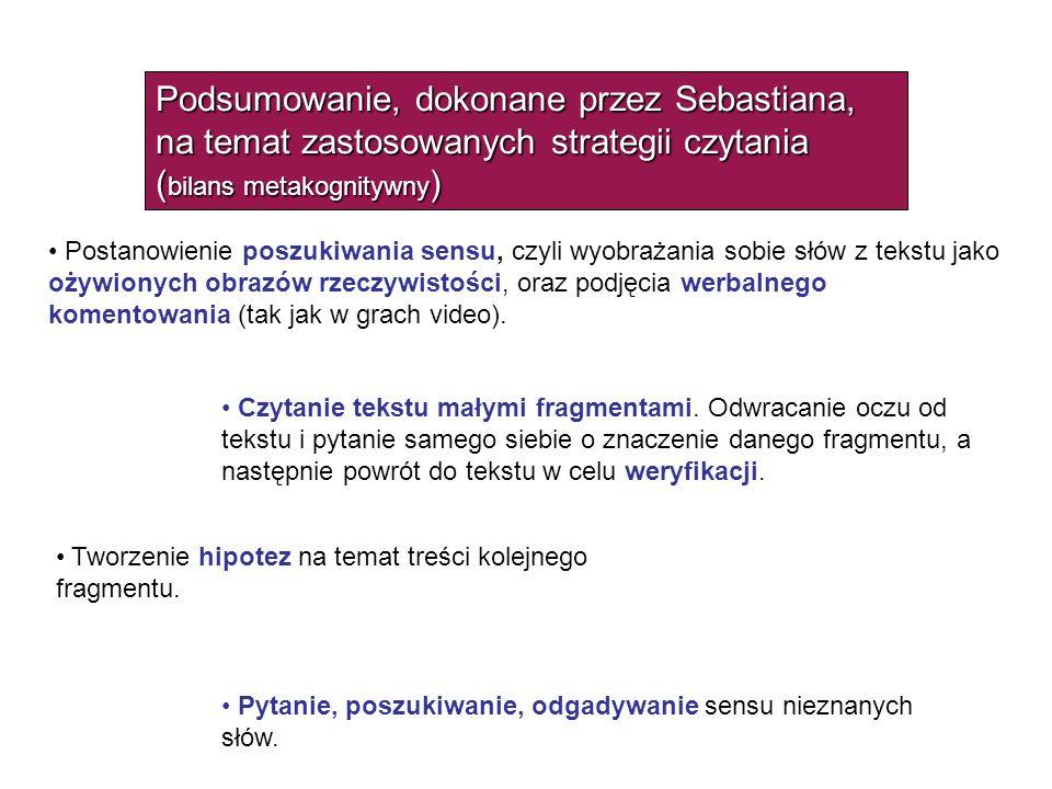 Podsumowanie, dokonane przez Sebastiana, na temat zastosowanych strategii czytania ( bilans metakognitywny ) Postanowienie poszukiwania sensu, czyli w