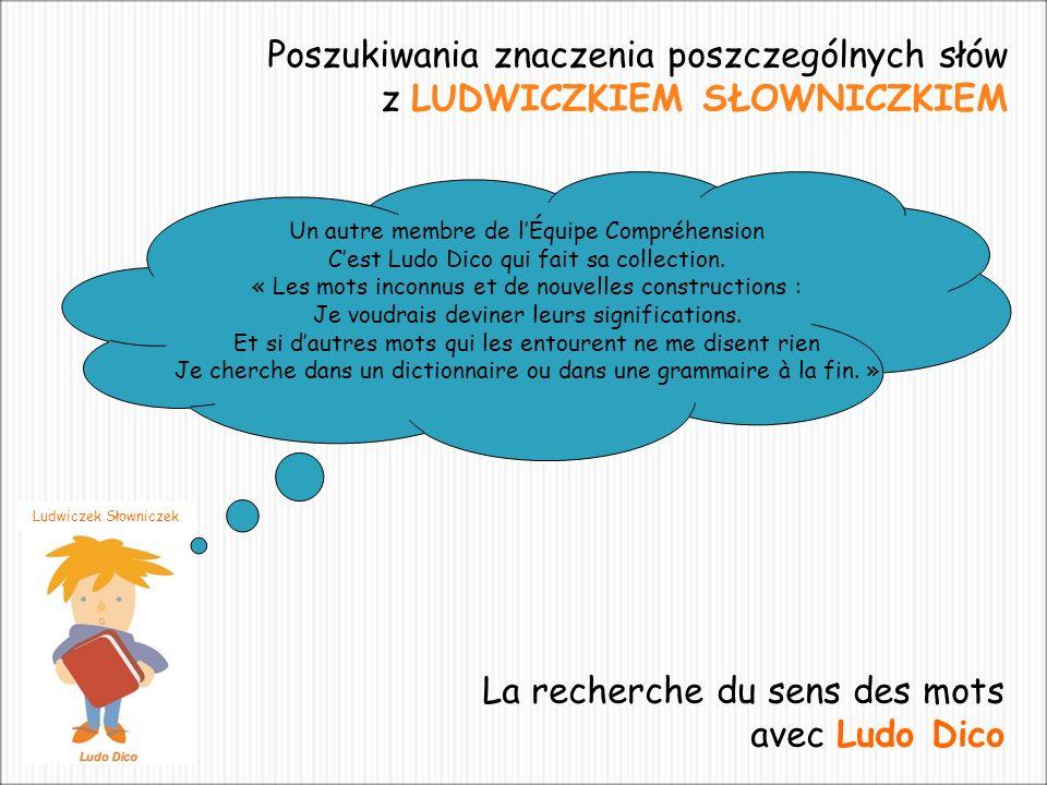 Ludwiczek Słowniczek Poszukiwania znaczenia poszczególnych słów z LUDWICZKIEM SŁOWNICZKIEM Un autre membre de lÉquipe Compréhension Cest Ludo Dico qui fait sa collection.