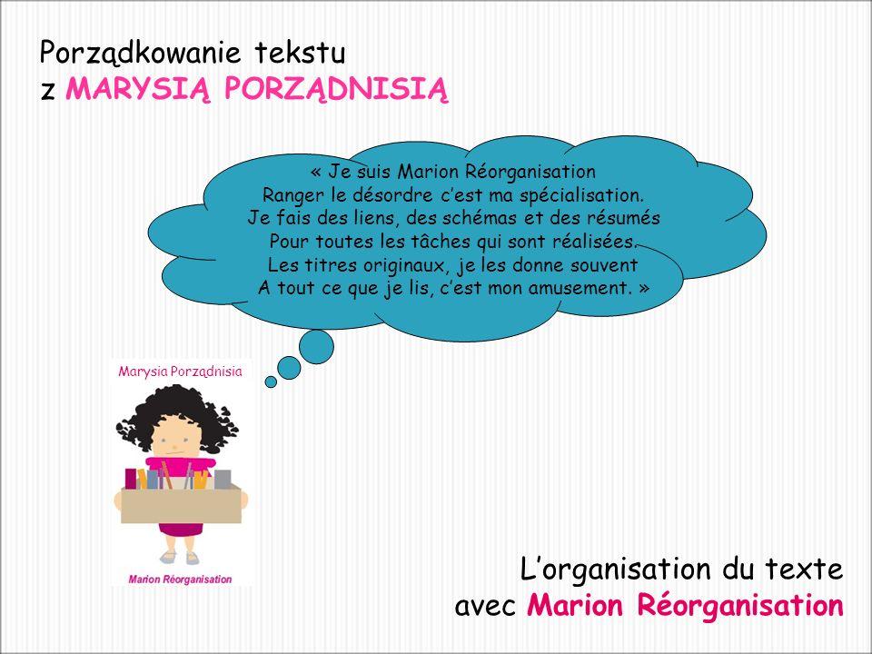 Porządkowanie tekstu z MARYSIĄ PORZĄDNISIĄ « Je suis Marion Réorganisation Ranger le désordre cest ma spécialisation.