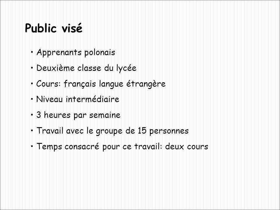 Apprenants polonais Deuxième classe du lycée Cours: français langue étrangère Niveau intermédiaire 3 heures par semaine Travail avec le groupe de 15 personnes Temps consacré pour ce travail: deux cours Public visé