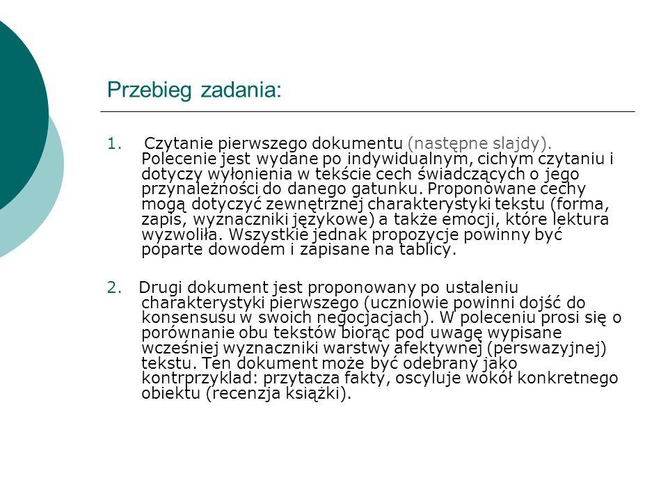 Przebieg zadania: 1. Czytanie pierwszego dokumentu (następne slajdy).