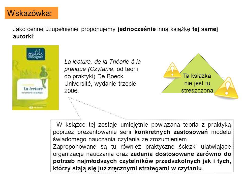 La lecture, de la Théorie à la pratique (Czytanie, od teorii do praktyki) De Boeck Université, wydanie trzecie 2006.