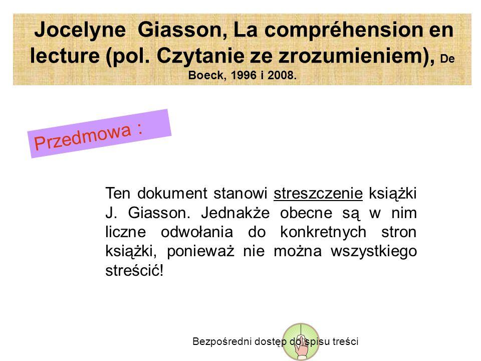 Jocelyne Giasson, La compréhension en lecture (pol.