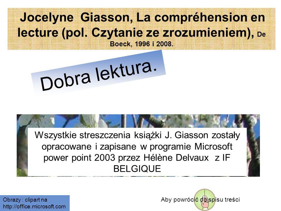 Dobra lektura. Jocelyne Giasson, La compréhension en lecture (pol.