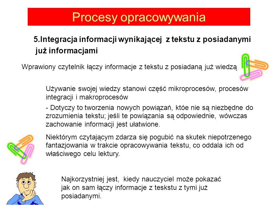 Procesy opracowywania 5.Integracja informacji wynikającej z tekstu z posiadanymi już informacjami Wprawiony czytelnik łączy informacje z tekstu z posiadaną już wiedzą.