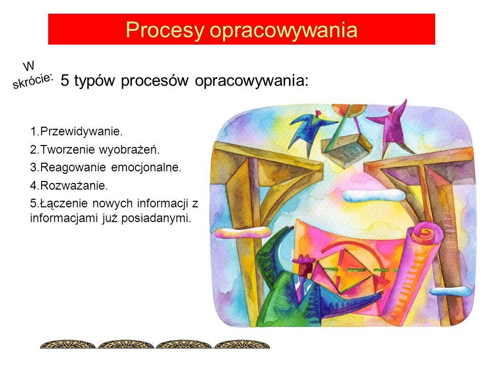 Procesy opracowywania 5 typów procesów opracowywania: 1.Przewidywanie.