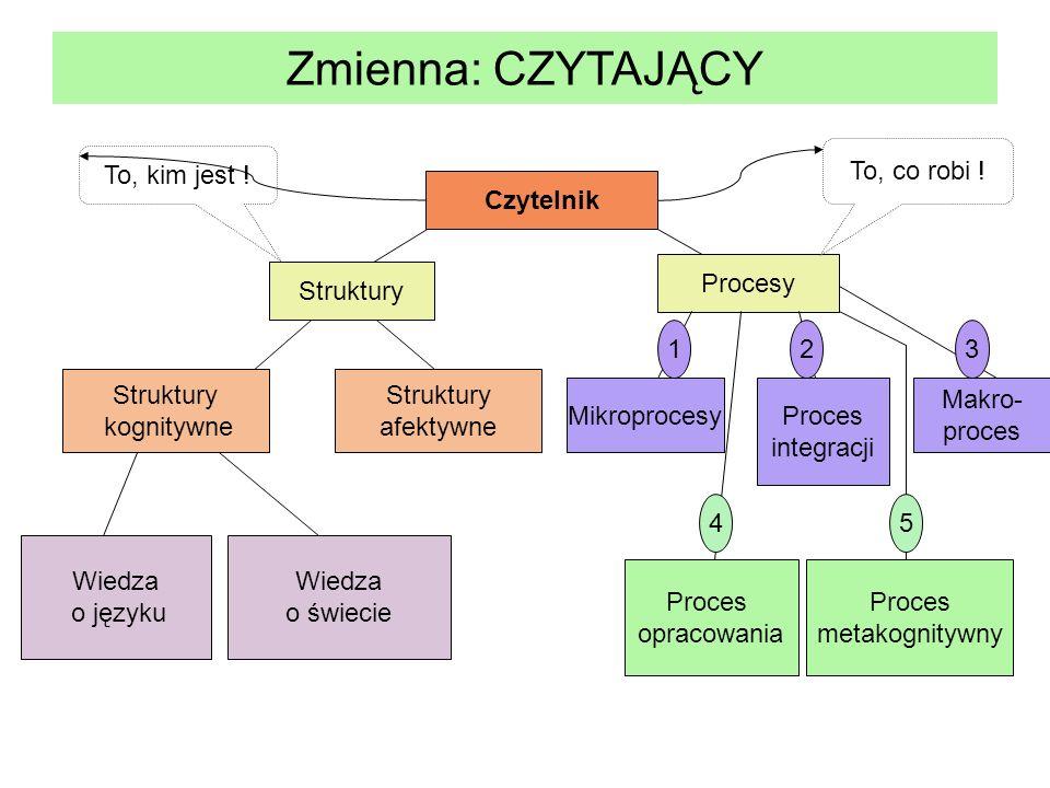Zmienna: CZYTAJĄCY Czytelnik Struktury Procesy Struktury kognitywne Struktury afektywne Wiedza o języku Wiedza o świecie Mikroprocesy Proces integracj
