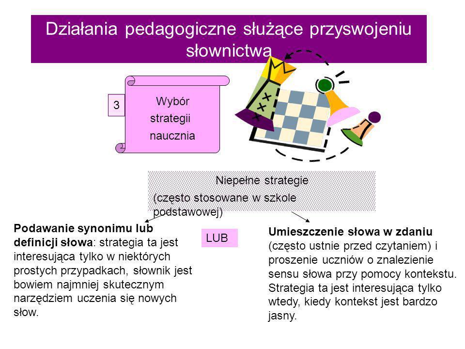 Działania pedagogiczne służące przyswojeniu słownictwa Wybór strategii naucznia 3 Niepełne strategie (często stosowane w szkole podstawowej) Podawanie synonimu lub definicji słowa: strategia ta jest interesująca tylko w niektórych prostych przypadkach, słownik jest bowiem najmniej skutecznym narzędziem uczenia się nowych słow.
