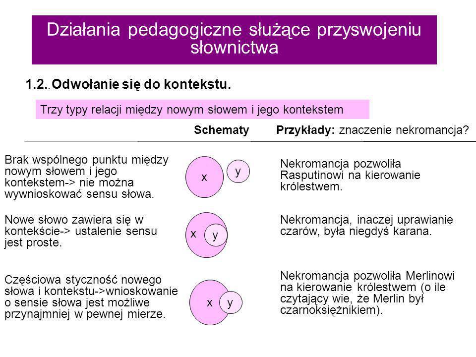 Działania pedagogiczne służące przyswojeniu słownictwa A zatem, aby poszerzyć słownictwo, należy praktykować lekturę indywidualną.