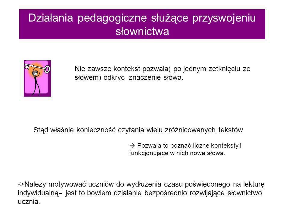 Działania pedagogiczne służące przyswojeniu słownictwa 2.