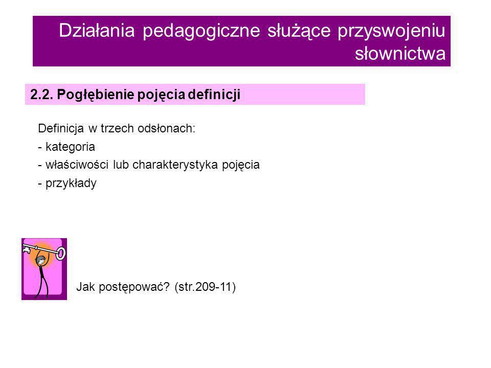 Działania pedagogiczne służące przyswojeniu słownictwa 2.2.