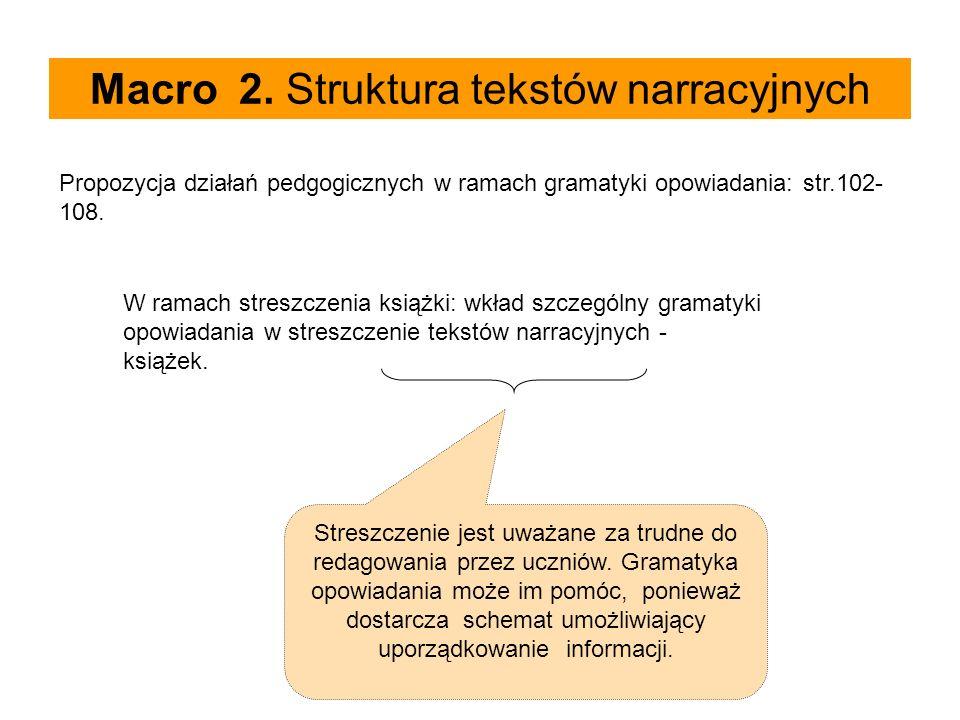 Macro 2. Struktura tekstów narracyjnych Propozycja działań pedgogicznych w ramach gramatyki opowiadania: str.102- 108. W ramach streszczenia książki: