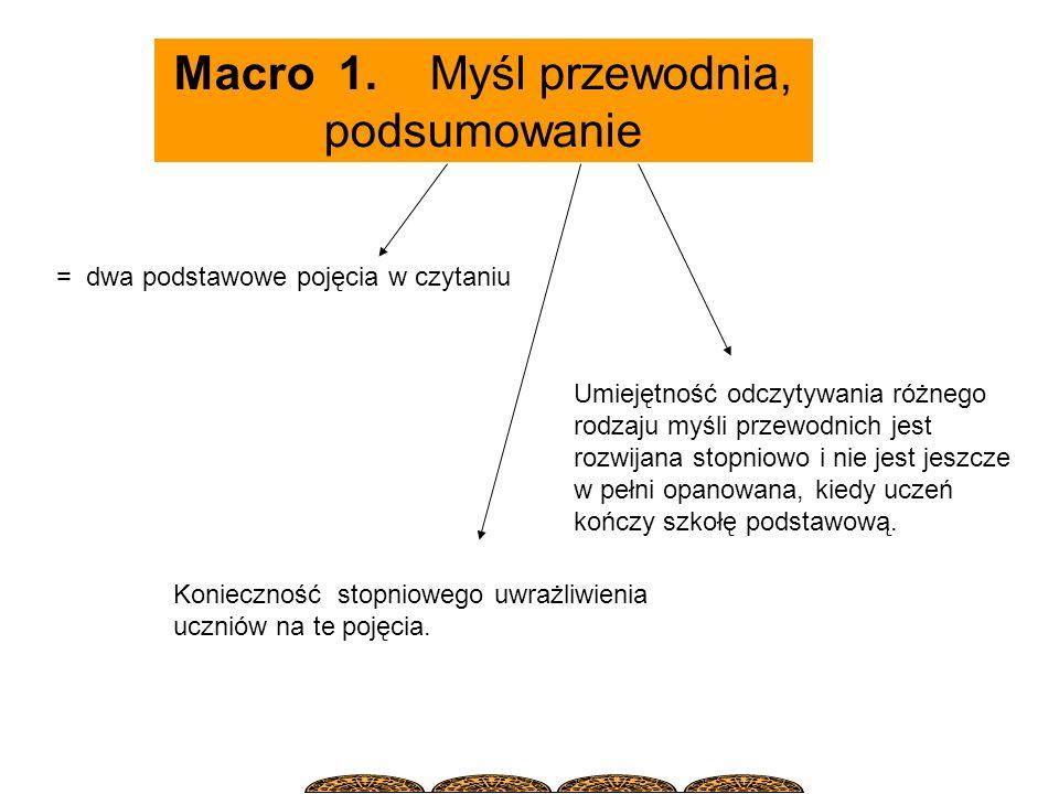 Macro 1. Myśl przewodnia, podsumowanie = dwa podstawowe pojęcia w czytaniu Umiejętność odczytywania różnego rodzaju myśli przewodnich jest rozwijana s