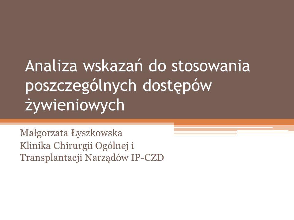 Analiza wskazań do stosowania poszczególnych dostępów żywieniowych Małgorzata Łyszkowska Klinika Chirurgii Ogólnej i Transplantacji Narządów IP-CZD
