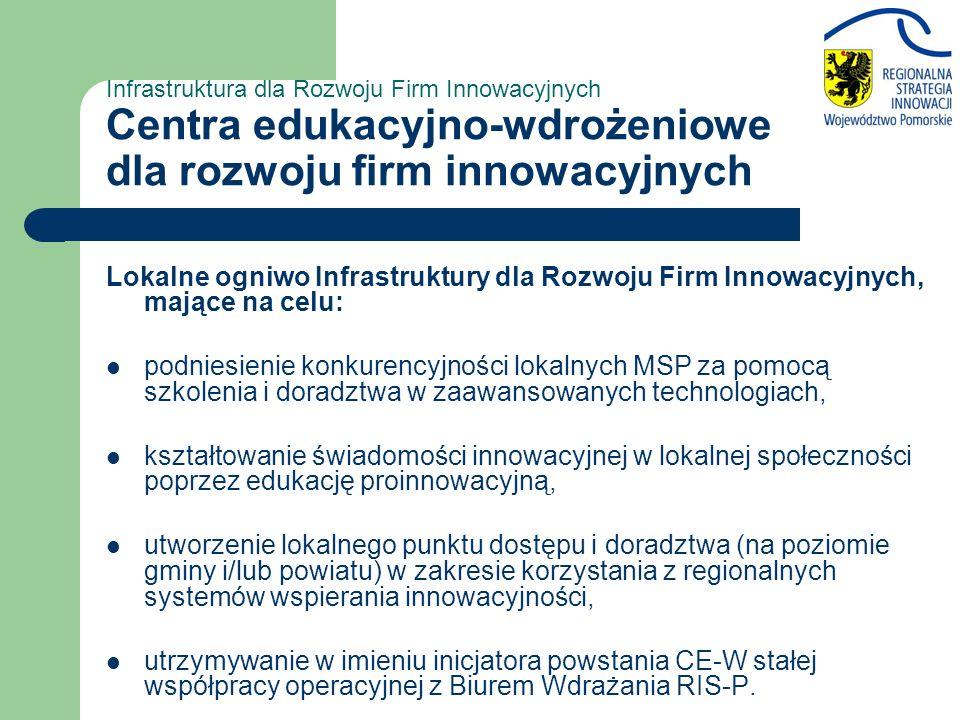 Infrastruktura dla Rozwoju Firm Innowacyjnych Centra edukacyjno-wdrożeniowe dla rozwoju firm innowacyjnych Lokalne ogniwo Infrastruktury dla Rozwoju Firm Innowacyjnych, mające na celu: podniesienie konkurencyjności lokalnych MSP za pomocą szkolenia i doradztwa w zaawansowanych technologiach, kształtowanie świadomości innowacyjnej w lokalnej społeczności poprzez edukację proinnowacyjną, utworzenie lokalnego punktu dostępu i doradztwa (na poziomie gminy i/lub powiatu) w zakresie korzystania z regionalnych systemów wspierania innowacyjności, utrzymywanie w imieniu inicjatora powstania CE-W stałej współpracy operacyjnej z Biurem Wdrażania RIS-P.