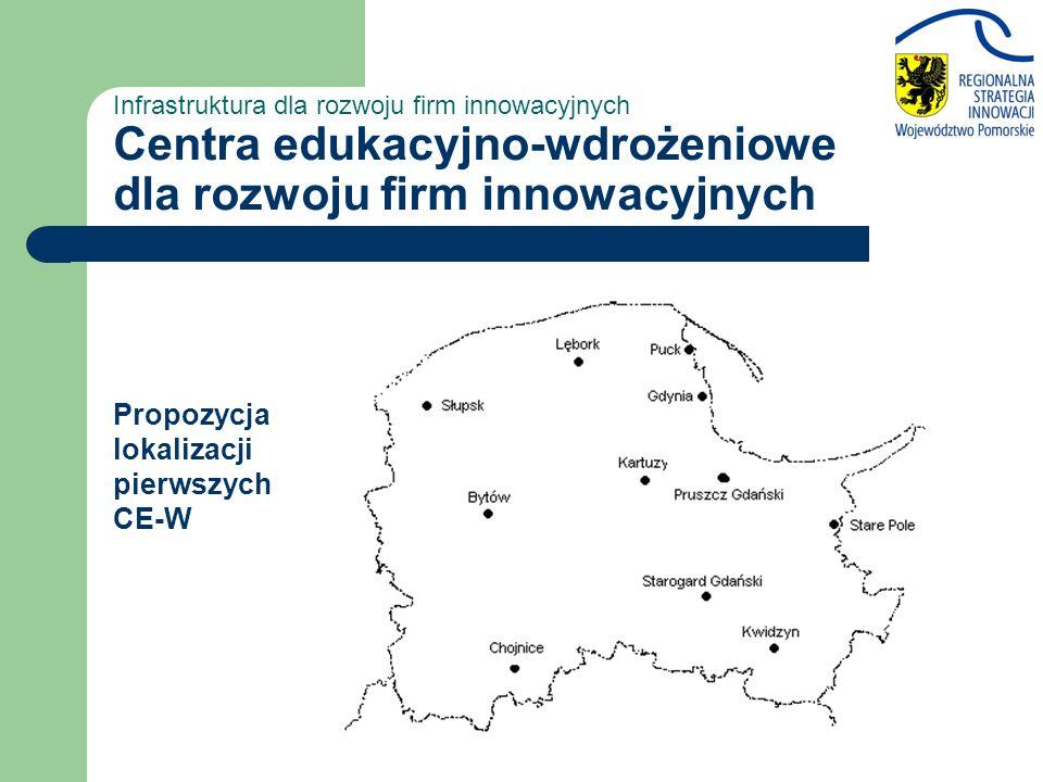 Infrastruktura dla rozwoju firm innowacyjnych Centra edukacyjno-wdrożeniowe dla rozwoju firm innowacyjnych Propozycja lokalizacji pierwszych CE-W