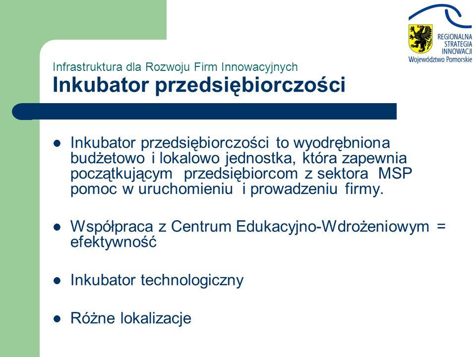 Infrastruktura dla Rozwoju Firm Innowacyjnych Inkubator przedsiębiorczości Inkubator przedsiębiorczości to wyodrębniona budżetowo i lokalowo jednostka, która zapewnia początkującym przedsiębiorcom z sektora MSP pomoc w uruchomieniu i prowadzeniu firmy.