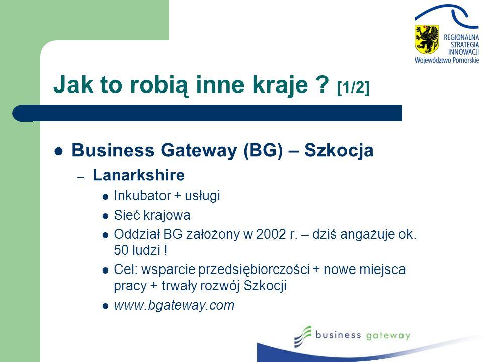Business Gateway (BG) – Szkocja – Lanarkshire Inkubator + usługi Sieć krajowa Oddział BG założony w 2002 r. – dziś angażuje ok. 50 ludzi ! Cel: wsparc