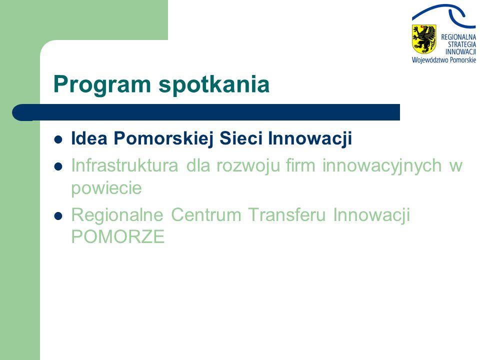 Program spotkania Idea Pomorskiej Sieci Innowacji Infrastruktura dla rozwoju firm innowacyjnych w powiecie Regionalne Centrum Transferu Innowacji POMO