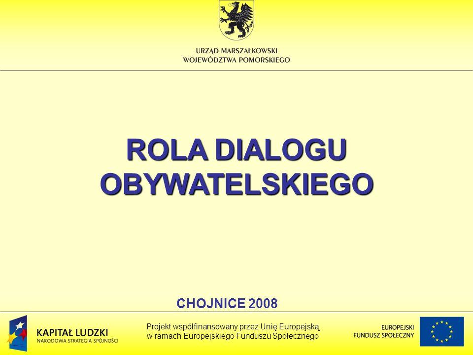 ROLA DIALOGU OBYWATELSKIEGO Projekt współfinansowany przez Unię Europejską w ramach Europejskiego Funduszu Społecznego CHOJNICE 2008