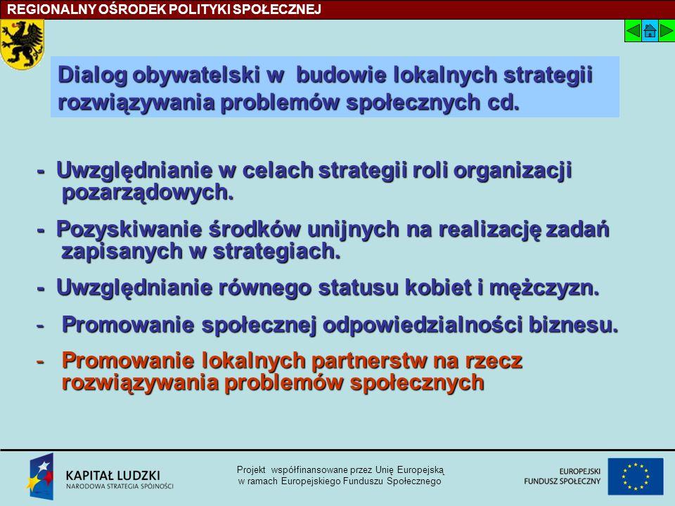 - Uwzględnianie w celach strategii roli organizacji pozarządowych.