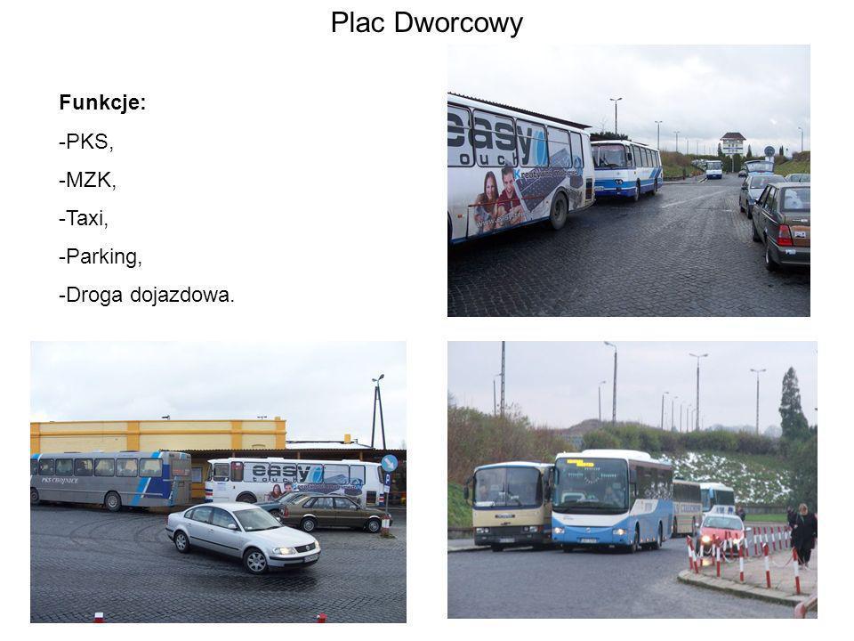 Plac Dworcowy Funkcje: -PKS, -MZK, -Taxi, -Parking, -Droga dojazdowa.