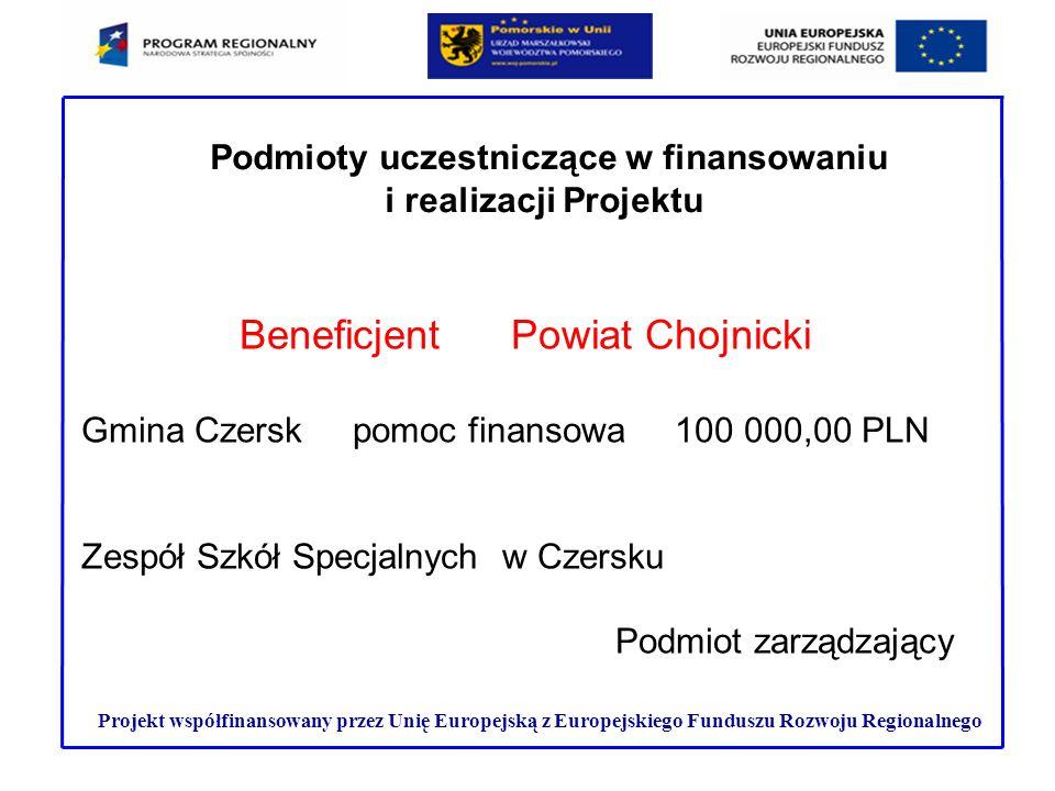Projekt współfinansowany przez Unię Europejską z Europejskiego Funduszu Rozwoju Regionalnego Podmioty uczestniczące w finansowaniu i realizacji Projek