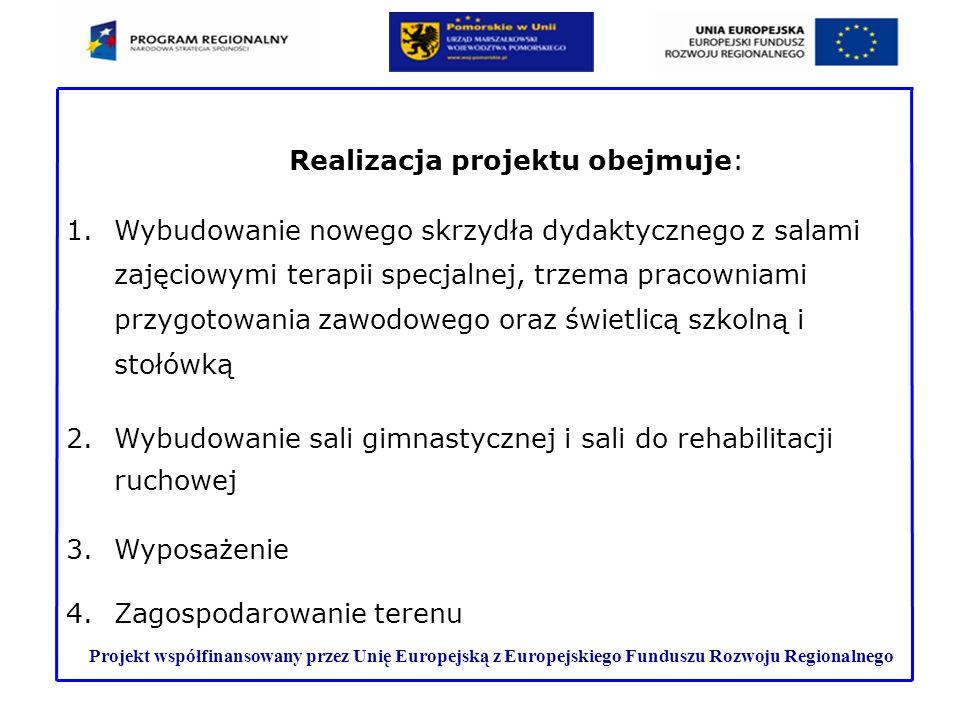 Projekt współfinansowany przez Unię Europejską z Europejskiego Funduszu Rozwoju Regionalnego 1.Wybudowanie nowego skrzydła dydaktycznego z salami zaję