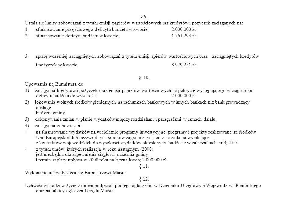 § 9. Ustala się limity zobowiązań z tytułu emisji papierów wartościowych raz kredytów i pożyczek zaciąganych na: 1. sfinansowanie przejściowego deficy