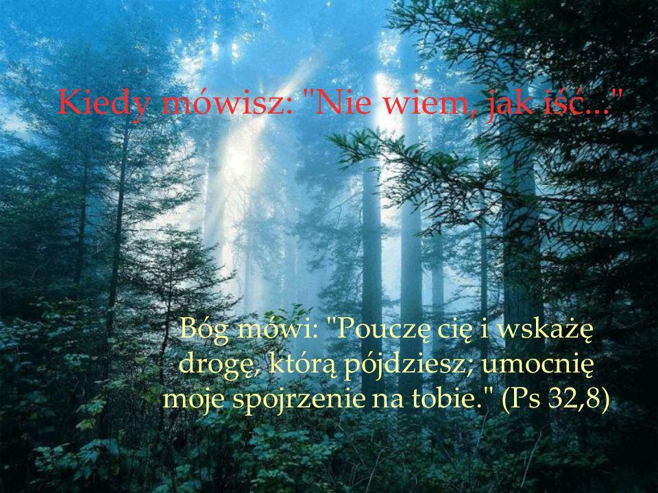 Kiedy mówisz: Nie wiem, jak iść... Bóg mówi: Pouczę cię i wskażę drogę, którą pójdziesz; umocnię moje spojrzenie na tobie. (Ps 32,8)