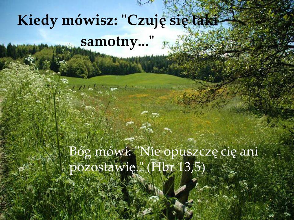 Kiedy mówisz: Czuję się taki samotny... Bóg mówi: Nie opuszczę cię ani pozostawię. (Hbr 13,5)